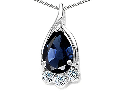 Tommaso Design Genuine Pear Shape Sapphire Pendant Necklace 14 kt White Gold