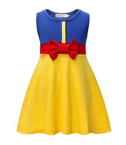 (HenzWorld Snow White Costume Dress Girls Princess Birthday Party Sleeveless Bowknot)