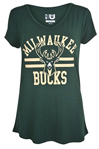 fan products of NBA Women's Milwaukee Bucks T-Shirt V-Neck Relaxed Fit Short Sleeve Tee Shirt, Large, Green