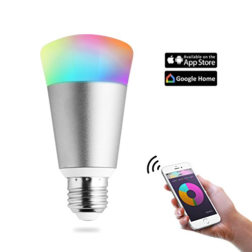 Bulbs Dot - Light Bulbs Wifi Smart Led Bulb,Party Bulb wireless lamp Work with Amazon Echo dot & Google Home, Dimmable Multicolored Color Changing, IOS & Android Smartphone Remote Control (7W,Silver