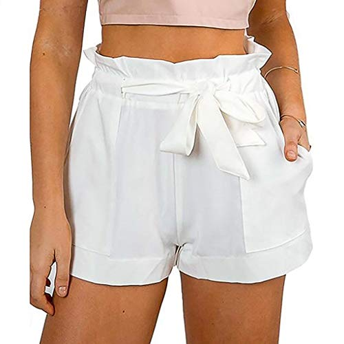 JOFOW Shorts Summer Solid Pleated Ruffle Drawstring Tie Strappy Casual Loose Comfy A line Mini Pants Pockets for Women (XL,Cream)