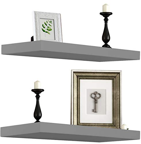 (Sorbus Floating Shelf - Hanging Wall Shelves Decoration - Perfect Trophy Display, Photo Frames (Gray) )