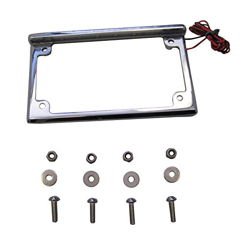 Universal Chrome License Plate Bracket Frame with LED Lights for Motorcycles & Scooters (Motorcycle License Plate Frame With Led Lights)