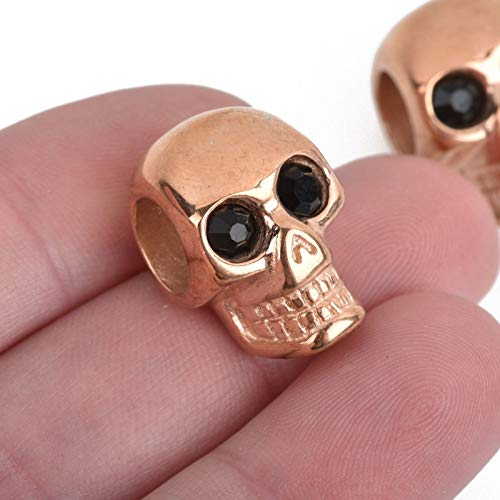 2 Rose Gold Skull Beads, Stainless Steel, Large Hole, Black Eyes, 20mm bme0438 Jewelry Making Supplies Set Crafts DIY Kit