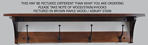 Shaker Coat Rack Shelf Wall Mounted – Custom Available - 3 Hook, Cherry Wood, Washington Cherry Stain