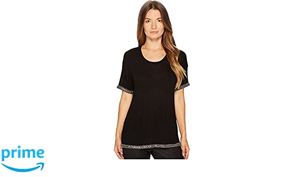 5533b6cba4f Amazon.com: The Kooples Women's T-Shirt With Embroidery at The Neck,  Sleeves and Hem Black 2: Clothing