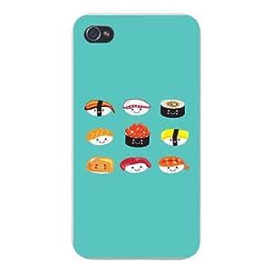 Apple Iphone Custom Case 5 / 5s White Plastic Snap on - Cute Sushi Boy Cartoon w/ Different Dress