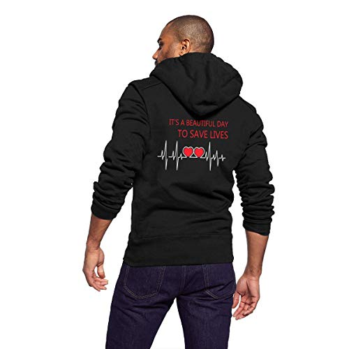 Sportswear Full Zip Up Club Fleece Hoodie Midweight Zip Front Hooded Sweatshirt Jacket for Men Man - Grey's Anatomy It's A Beautiful Day to Save Lives -