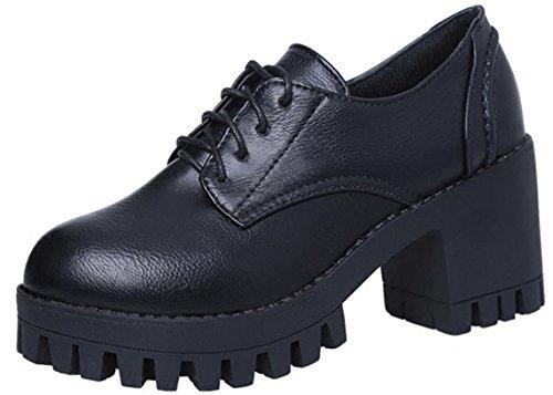Scarpe Oxford Donne Tacco Alto, Scarpe Da Sera Scolastiche Vestito Casual Uso Nero Antiscivolo