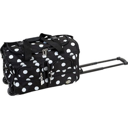 OS Black Polka Dot Rolling Duffle Bag, 22 Inch, Inline Skate Wheels, Polyester by OS