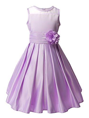 Spring Notion Big Girls Sheer Neckline Satin Tea Length Flower Girl Dress Lavender Size 14