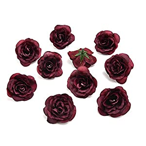 silk flowers in bulk wholesale Fake Flowers Heads Silk Flower Dahlia Rose Artificial Flower Head Wedding Decoration DIY Wreath Gift Box Scrapbooking Craft Fake Flower 30pcs 3.5cm (Burgundy) 47