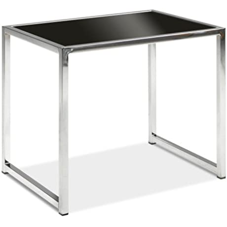 AVE SIX Yield Modern End Table With Chromed Steel Base Black Glass Top