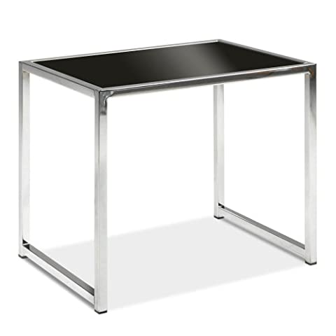 AVE SIX Yield Modern End Table with Chromed Steel Base, Black Glass Top (Rectangular Table Base)