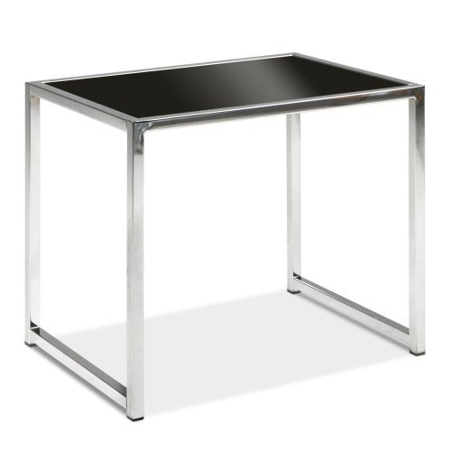 AVE SIX Yield Modern End Table with Chromed Steel Base, Black Glass Top - Black Steel Table Base