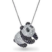 Bling Jewelry Simulated Onyx CZ Panda Bear Pendant Necklace Rhodium Plated