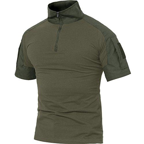 MAGCOMSEN Men's Tactical Military Shirts 1/4 Zip Short Sleeve Slim Fit Camo Shirt
