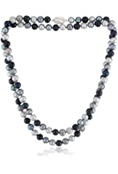 "Honora ""Black Tie"" Black, Jet and Grey Freshwater Cultured Pearl Necklace, 36"""