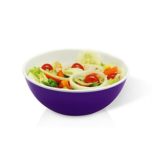 Salad Bowl Set ~ Premium Fruit / Cereal Bowl with Appealing Colors~ 100% Stain Proof Durable Shatterproof Thick Plastic ~ 54 Fluid Oz Capacity ~ Use as Soup/Desert Bowl [2year Warranty] (1, Purple)