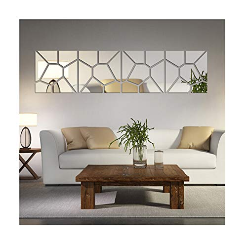 Multi-Pieces=4 Squares Modern Design DIY Mirror Effect Wall Stickers Bedroom Living Room Wall Decor Art Self Adhesive Mirrored Stickers Mural Home Decoration (Wall Room Living For Decor Modern)