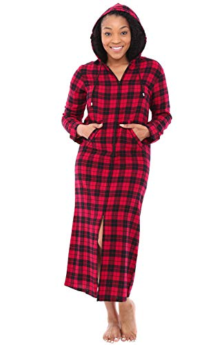 Alexander Del Rossa Womens Hooded Flannel Robe with Zipper, Lightweight Cotton House Coat, Medium Red and Black Tartan Plaid (A0492Q42MD) (Tartan Hooded Down Coat)