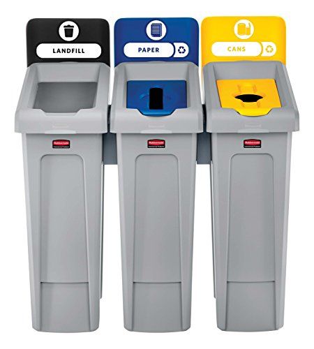 (Rubbermaid Commercial Products 2007917 Slim Jim Recycling Station, 3 Stream Landfill/Paper/Bottles Cans )