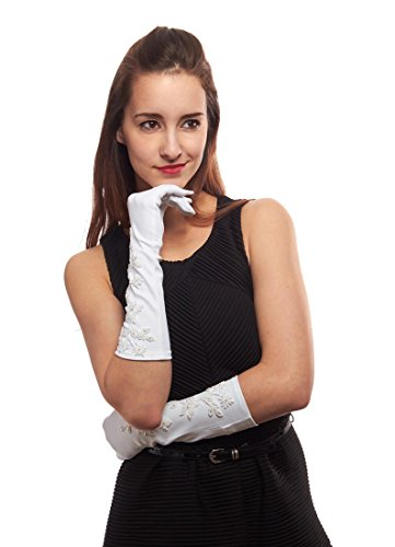 Mid Arm Length Lace Gloves (Lost in Paris Beaded Mid Arm Length White Satin Gloves)