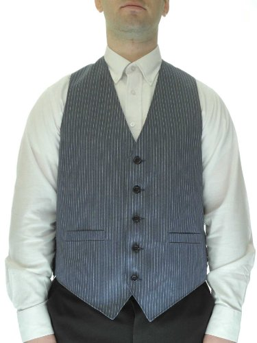 Pinstripe Blue Dress Vest for Men, (Ganster Suit)