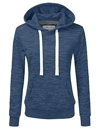 Doublju Basic Lightweight Pullover Hoodie Sweatshirt for Women Denim Small
