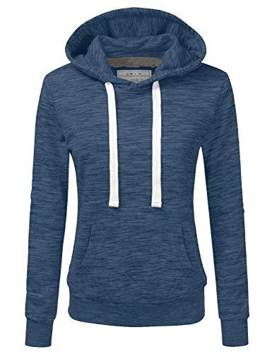 Doublju Basic Lightweight Pullover Hoodie Sweatshirt for Women Denim X-Large