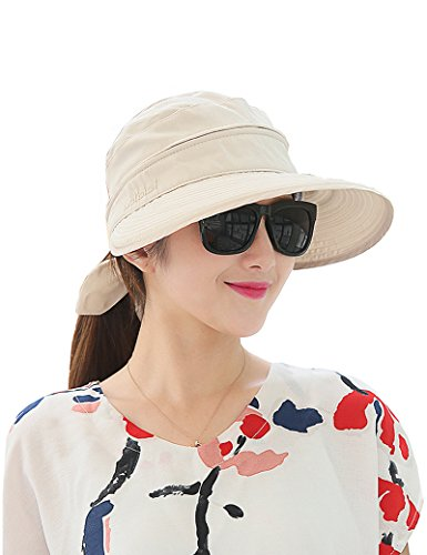 Lujuny Removable Crown Sun Hat - 2 in 1 Zipper UV Protection Visor Big Brim Summer Cap for Travel Hiking Safari Golf Gardening Fishing (Beige)