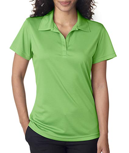 (UltraClub Ladies' Cool & Dry Jacquard Stripe Polo L Light Green)