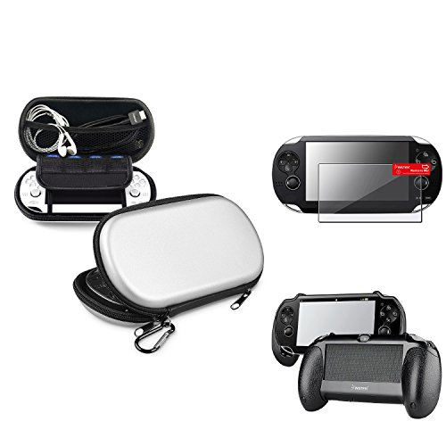 Insten Silver EVA Case Cover + Black Hand Grip + Clear Screen Protector Compatible With Sony PS Vita PSV (Logitech Snes Usb Controller)
