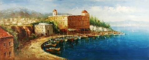 Oil Painting 'Landscape Of The Harbor On', 30 x 74 inch / 76 x 189 cm , on High Definition HD canvas prints is for Gifts And Garage, Home Office And Living Room Decoration, canvases by LuxorPre
