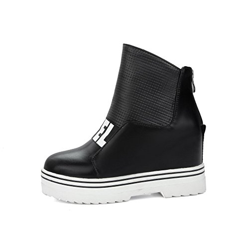 Allhqfashion Mujeres High-heels Soft Material Low-top Assorted Color Zipper Botas Negro
