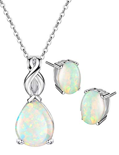 Mints Opal Infinity Jewelry Set Sterling Silver Pendant Necklace Stud Earrings October Birthstone Fine Jewelry Women (Opal Earring Necklace)
