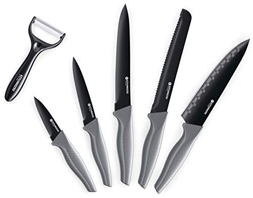 Kitchenized 5 Piece Knife Set with Bonus Peeler, Sharp Stainless Steel Blades and Carbon Fiber Design Handle, Rust proof, Stain Resistant, with Non-Stick Coating Knives