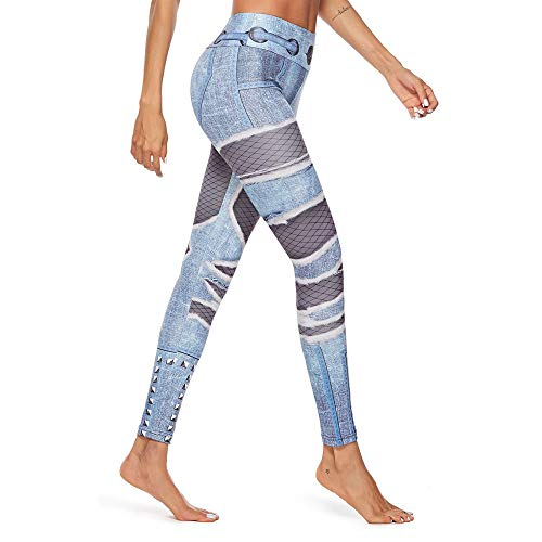 TOPUNDER Women Workout Shredded Jeans Print Leggings Fitness Sport Gym Yoga Athletic Pant