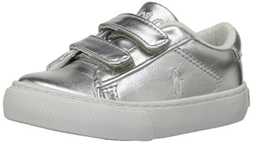 Polo Ralph Lauren Kids Baby Easton EZ Sneaker, Silver/Metallic, 9.5 Medium US - Footwear Metallic Silver Toddler
