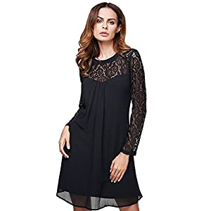 vanberfia Women's Lace Patchwork Casual Mini Chiffon Dress