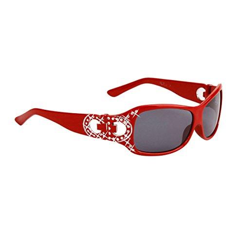 Rhinestone Kids Sunglasses - Girls Fashionable Rhinestone Vented Kids Butterfly Sunglasses UV400 - Ages 3-10 (Red)