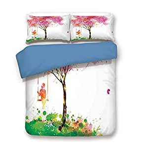 iPrint Duvet Cover Set,Blue Back,Apartment Decor,Spring Blossoming Tree Dreaming Girl on Swing Chilhood Memories Artsy Watercolor Image,Multi,Decorative 3 Pcs Bedding Set 2 Pillow Shams,Full Size