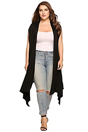Zeagoo Womens Plus Size Sleeveless Cardigan Sweater Vest Solid ...