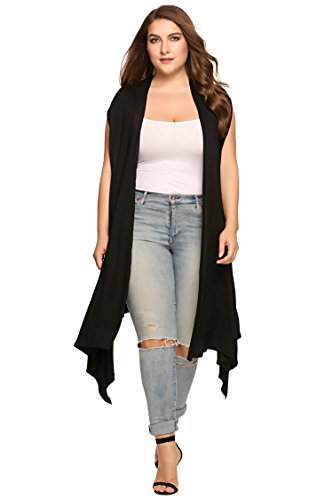 Black Long Vest (Zeagoo Womens Plus Size Lightweight Sleeveless Draped Open Cardigan Vest Black 16W-30W, Black, 24 Plus)