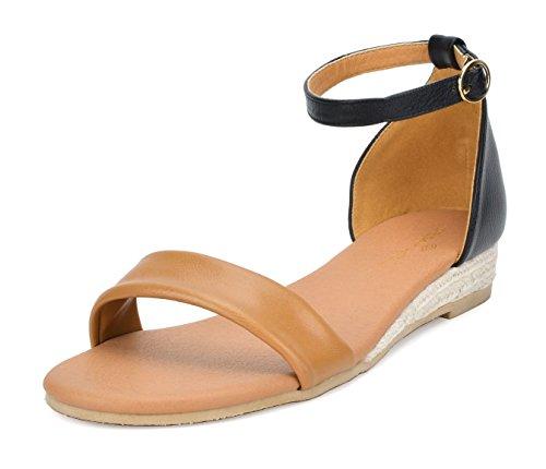 DREAM PAIRS Women's Camel Black Ankle Strap Sandals Low Wedge Sandals Size 5.5 M US Formosa_10
