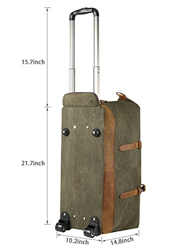 Kattee Luggage Rolling Duffel Bag Leather Trim Canvas Wheeled Carry-on Travel Bag 50L (Army Green) by Kattee (Image #2)
