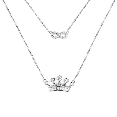 blackbox Jewelry Sterling Silver Two Layered White Cubic Zirconia Infinity Crown Unique Charm Pendant - Crown White Charm Pendant