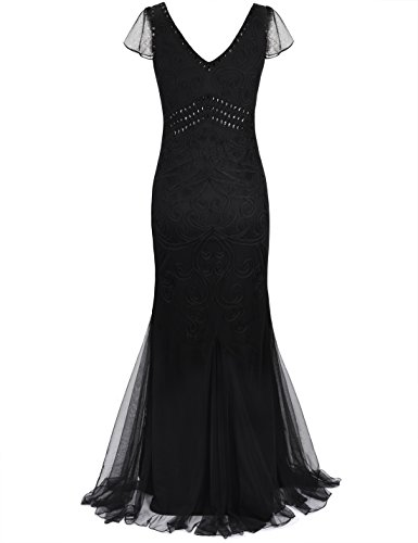 Schwarz Ärmel Sirena Noche Largo Formal Baile PrettyGuide 1920s Vestido Mit De Mujeres De Vestido 16wxqBCP