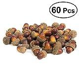 VORCOOL 60pcs Artificial Lifelike Simulation Small Acorn Set Decoration False Nuts Home Kitchen Decor