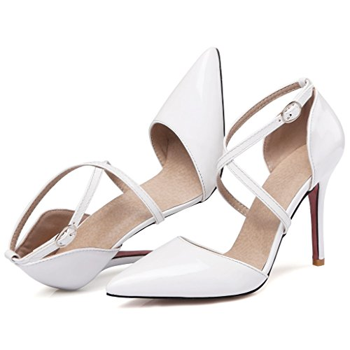 High Pumps Patent Party Heel Cross Pointed Beautiful Women's White Night leather Toe Thin Strap Kaloosh qUPzTnOw
